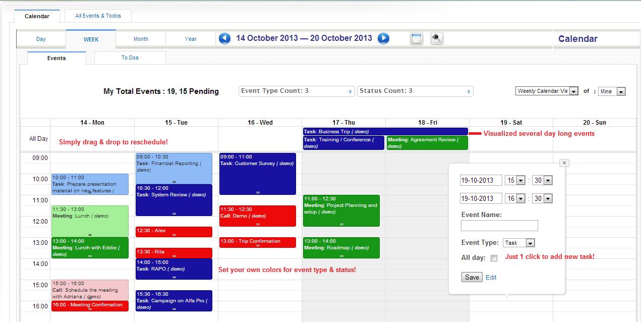 vTiger CRM Advanced Calendar Module | IT Sapiens